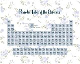 Periodic Table Of The Elements Blue Floral Art Print