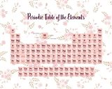 Periodic Table Of The Elements Pink Floral Art Print