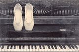 Ballet Shoes And Piano Old Photo Style Dust and Scratches Art Print
