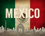 Mexico City, Mexico - Flags and Skyline Art Print