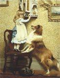 Little Girl and Her Sheltie Art Print