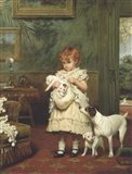 Girl with Dogs Art Print