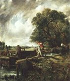 Barges Passing a Lock on the Stour Art Print