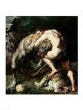 Hercules Fighting the Nemean Lion Art Print