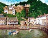 Clovelly Harbor Art Print