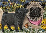 Garden Pugs Art Print