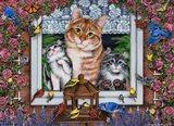 Window Kitties Horizontal Art Print