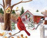 Cardinal, Chickadee & Christmas Barn Art Print