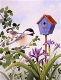 Chickadees And Iris Art Print