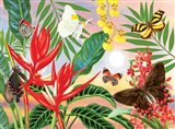 Butterflies and Red Christmas Heliconia Art Print