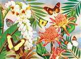 Butterflies With Torch Ginger Art Print