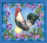 Morning Glory Rooster I Art Print