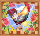 Morning Glory Rooster IV Art Print