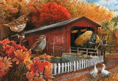 Covered Bridge Art Print by Wood