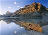 Canoe At The Lakeside, Bow Lake, Alberta, Canada Art Print