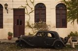 Vintage car parked in front of a house, Calle De Portugal, Colonia Del Sacramento, Uruguay Art Print
