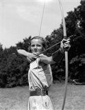 1930s Girl with Bow and Arrow Art Print