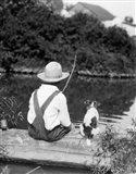 1920s 1930s Farm Boy Fishing Art Print