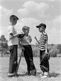 1950s Boys Baseball Holding Bat Art Print