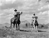 Pair Of Cowboys On Horseback At Glacier Fifty Mountain Camp Art Print