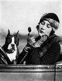 1920s Flapper In Convertible Powdering Her Cheek Art Print