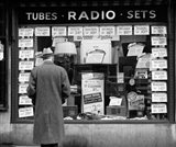 1940s Man Looking At Window Display Of Radios Art Print