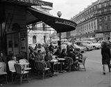 1960s Patrons At Cafe De La Paix Sidewalk Cafe In Paris? Art Print