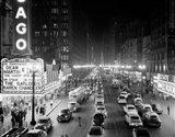 1950s 1953 Night Scene Of Chicago State Street Art Print