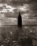 1930s 1940s Empire State Building Silhouetted In Nyc Art Print
