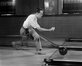 1950s Side View Of Man Bowling Art Print