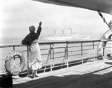 1930s Back Of Woman On Of Cruise Art Print