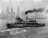 1940s Steam Engine Tugboat On Hudson River Art Print