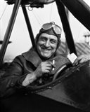 1920s Smiling Man Pilot In Cockpit Of Airplane Art Print
