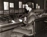 1930s Woman Telephone Operator Art Print