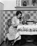 1920s Woman Sitting At Kitchen Table Art Print