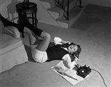 1960s Teenage Girl Lying On Floor Art Print