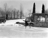 1920s Couple Man Woman Ice Skating Art Print