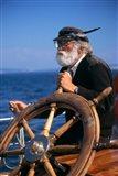 1990S Bearded Man At Wheel Of Ship Art Print
