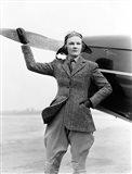 1930s Woman Aviator Pilot Standing Next To Airplane Art Print