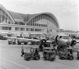 1950s 1960s Propeller Airplane On Airport Tarmac Art Print