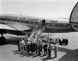 1950s Group Of Passengers Boarding Airplane Art Print