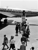 1950s Airplane Boarding Passengers Art Print