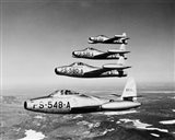 1950s Four Us Air Force F-84 Thunderjet Fighter Art Print