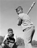 1950s Teen Boy At Bat Art Print