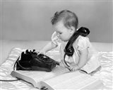 1960s Baby Girl With Telephone Book Art Print