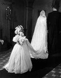 1950s Little Girl Bridesmaid Drinking Glass Of Milk Art Print