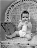 1940s Baby Sitting In Wicker Chair Art Print