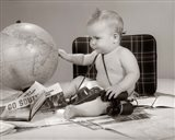1960s Baby Seated Looking At Globe Art Print