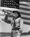 1940s Boy Scout Playing Bugle Art Print