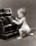 1930s 1940s Salesperson Baby Wearing Diaper Art Print